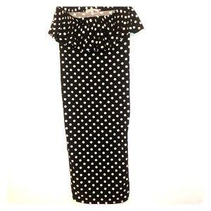 White polka dot tube top mid length dress